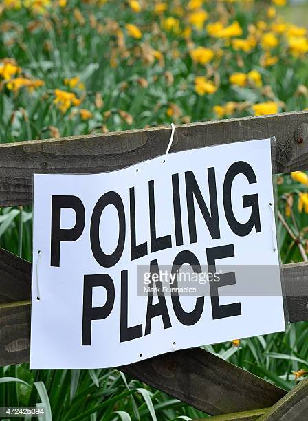Polling Station sign attached to a gate in the tiny fishing village of Collieston on May 07 2015 near Ellon Scotland The United Kingdom has gone to...