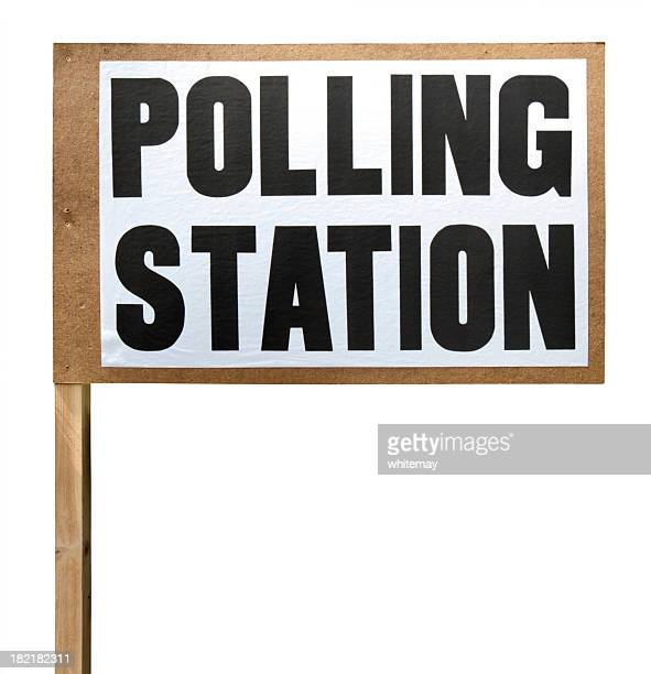 polling station sign cut-out - polling station stock pictures, royalty-free photos & images