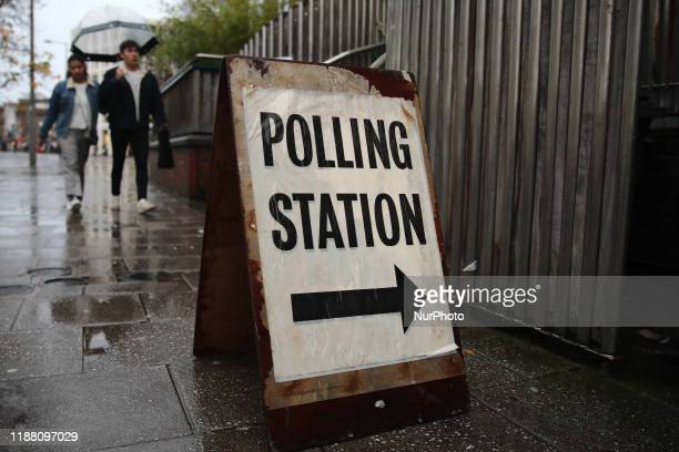 Polling station sign during General Elections in London Great Britain on December 12 2019