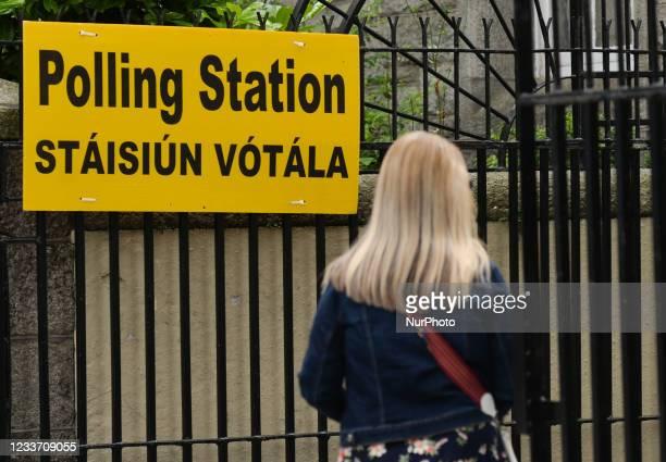 Polling Station sign in Dublin center On Monday, 28 June 2021, in Dublin, Ireland.