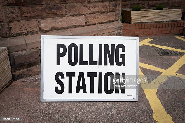 A polling station sign in West Kirby Wirral where people voted at the 2015 UK General Election They were voting in the marginal Wirral West...