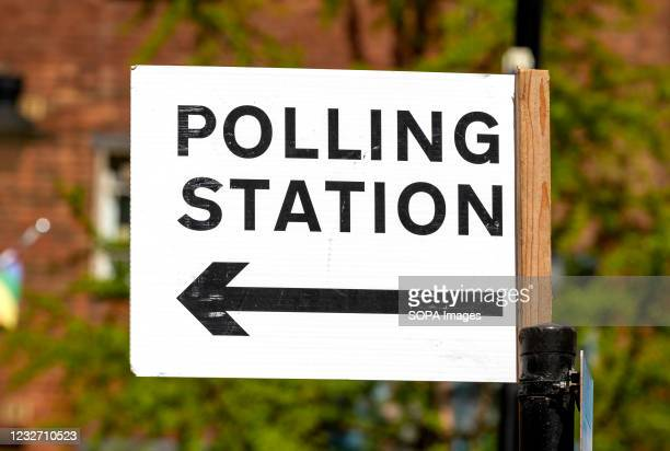 Polling station sign seen in Westminster ahead of the 2021 London mayoral election on the 6th May.
