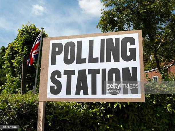 uk polling station sign with union jack - election stock pictures, royalty-free photos & images