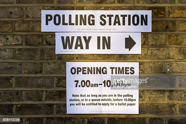 Polling station signs are seen outside KItson Hall polling station at the London Mayoral Election in London United Kingdom on May 05 2016