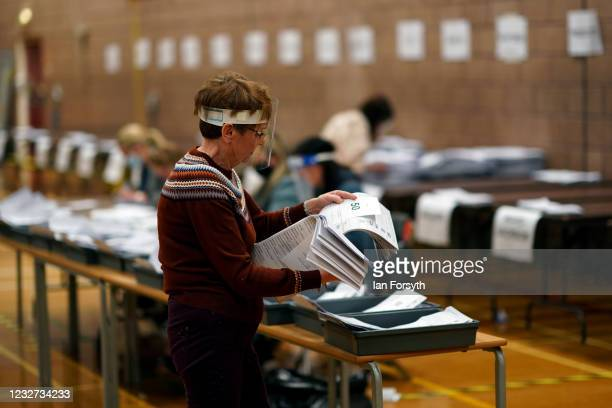 Polling station staff count votes for the Hartlepool Parliamentary By-election at the Mill House Leisure Centre on May 07, 2021 in Hartlepool,...