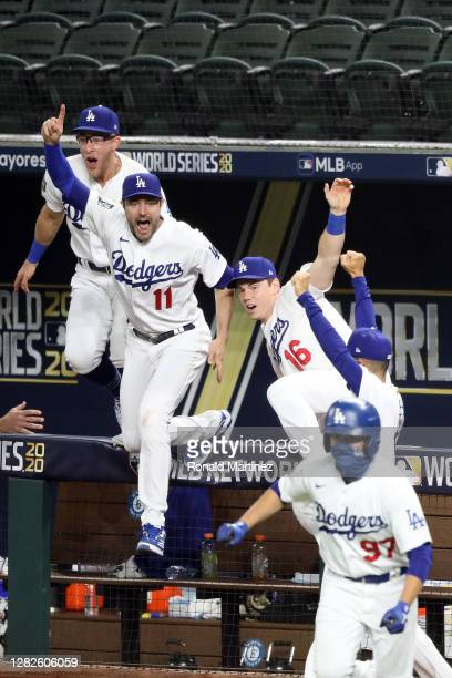 Pollock and Will Smith of the Los Angeles Dodgers celebrate after defeating the Tampa Bay Rays 3-1 in Game Six to win the 2020 MLB World Series at...