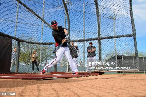 J Pollock hits the ball during batting practice on February 17 2017 in Scottsdale Arizona