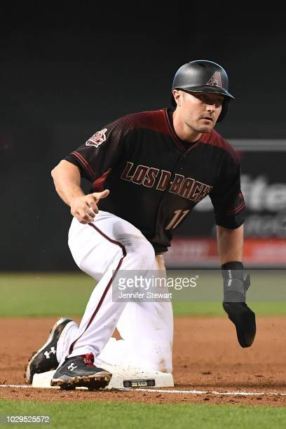 J Pollock of the Arizona Diamondbacks advances to third bbase on a wild pitch in the first inning of the MLB game against the Atlanta Braves at Chase...