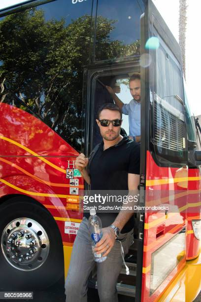 J Pollock of the Arizona Diamondbacks arrives at Dodger Stadium for game one of the National League Division Series against the Los Angeles Dodgers...