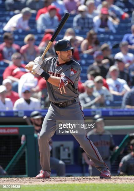 J Pollock of the Arizona Diamondbacks bats during a game against the Philadelphia Phillies at Citizens Bank Park on April 26 2018 in Philadelphia...