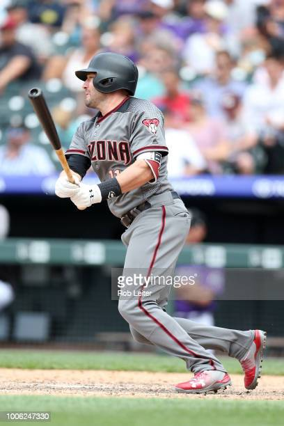 J Pollock of the Arizona Diamondbacks bats during the game against the Colorado Rockies at Coors Field on July 12 2018 in Denver Colorado The Rockies...