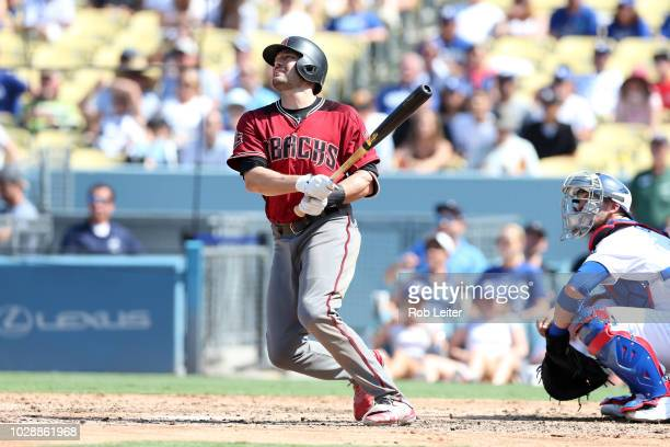 J Pollock of the Arizona Diamondbacks bats during the game against the Los Angeles Dodgers at Dodger Stadium on Sunday September 2 2018 in Los...