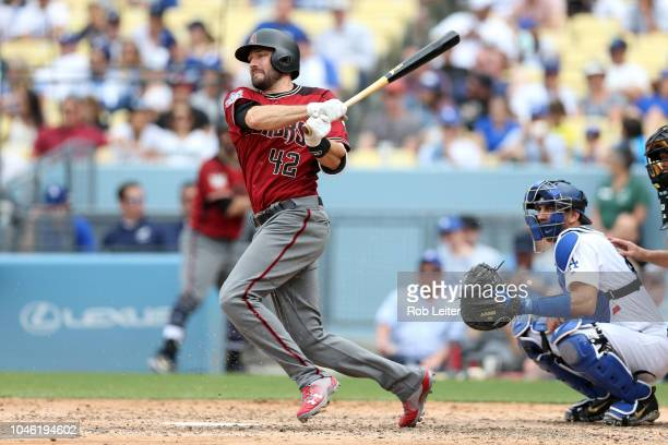 Pollock of the Arizona Diamondbacks bats during the game against the Los Angeles Dodgers at Dodger Stadium on Sunday April 15 2018 in Los Angeles...