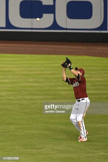 J Pollock of the Arizona Diamondbacks catches a fly ball in the fifth inning of the MLB game against the San Francisco Giants at Chase Field on...