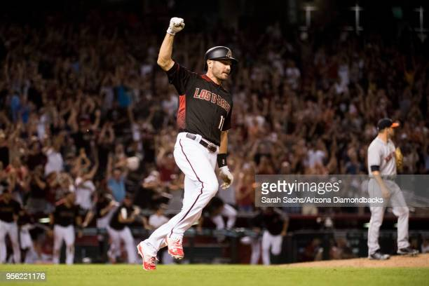 J Pollock of the Arizona Diamondbacks celebrates after hitting a walkoff RBI single during a game against the Houston Astros at Chase Field on May 5...