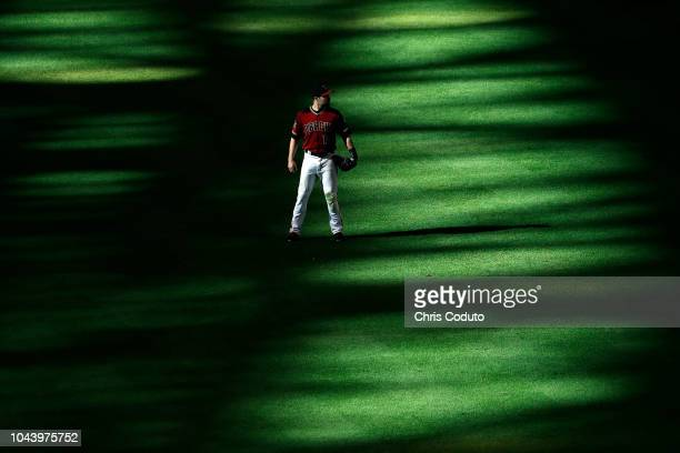J Pollock of the Arizona Diamondbacks during the top of the seventh inning at Chase Field against the Colorado Rockies on September 23 2018 in...