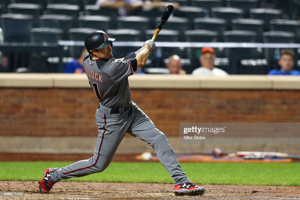 A.J. Pollock #11 of the Arizona Diamondbacks hits a 2-run home run in the tenth inning against the New York Mets at Citi Field on August 21, 2017 in the Flushing neighborhood of the Queens borough of New York City.