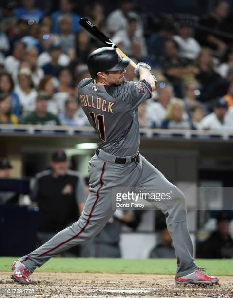 J Pollock of the Arizona Diamondbacks hits a single during the sixth inning of a baseball game against the San Diego Padres at PETCO Park on August...