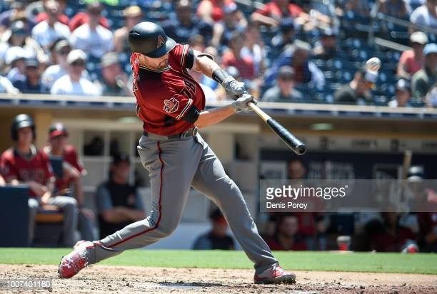 J Pollock of the Arizona Diamondbacks hits a solo home run during the fourth inning of a baseball game against the San Diego Padres PETCO Park on...