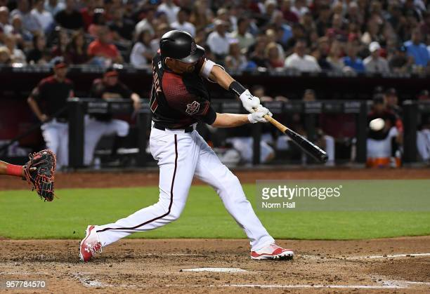Pollock of the Arizona Diamondbacks hits an RBI double during the third inning against the Washington Nationals at Chase Field on May 12 2018 in...