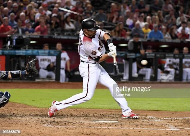 Pollock of the Arizona Diamondbacks hits the ball against the Milwaukee Brewers at Chase Field on May 14 2018 in Phoenix Arizona