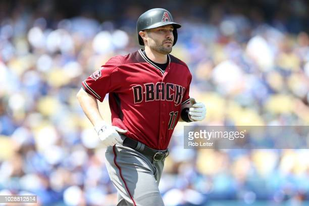 J Pollock of the Arizona Diamondbacks looks on during the game against the Los Angeles Dodgers at Dodger Stadium on Sunday September 2 2018 in Los...