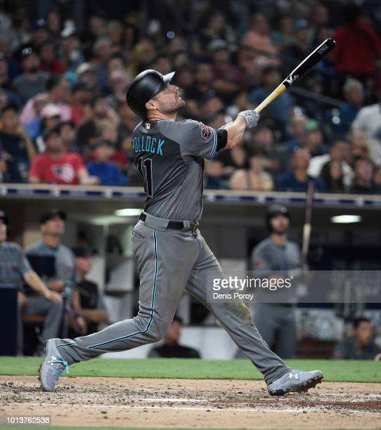 J Pollock of the Arizona Diamondbacks plays during a baseball game against the San Diego Padres PETCO Park on July 27 2018 in San Diego California