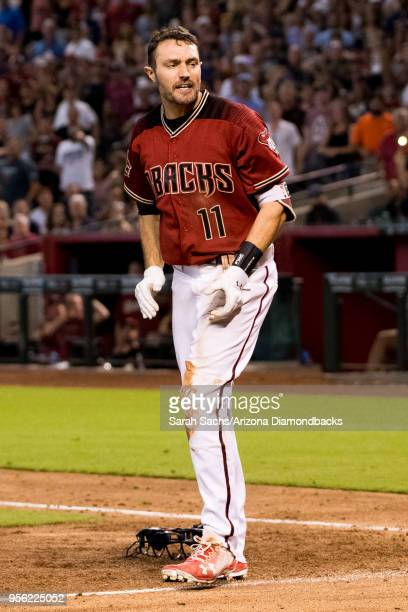 J Pollock of the Arizona Diamondbacks reacts after scoring on an interference call by Alex Bregman of the Houston Astros in the sixth inning of the...