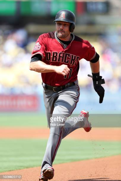 J Pollock of the Arizona Diamondbacks runs back to first during the game against the Los Angeles Dodgers at Dodger Stadium on Sunday September 2 2018...