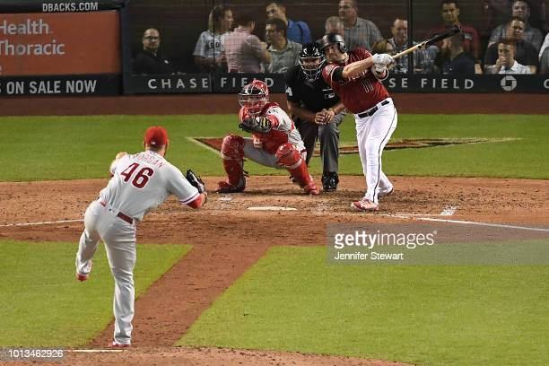 J Pollock of the Arizona Diamondbacks singles in the seventh inning of the MLB game against the Philadelphia Phillies at Chase Field on August 8 2018...