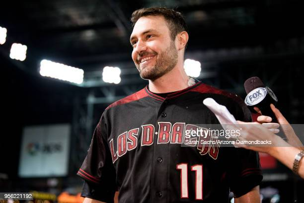 J Pollock of the Arizona Diamondbacks smiles after hitting a walkoff RBI single during a game against the Houston Astros at Chase Field on May 5 2018...