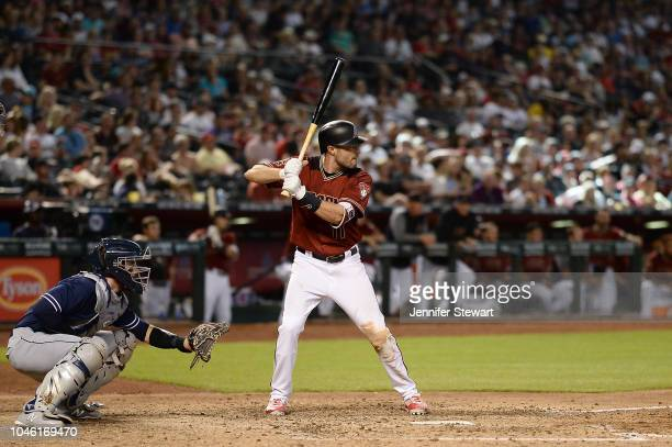 J Pollock of the Arizona Diamondbacks stands at bat during the eighth inning of the MLB game against the San Diego Padres at Chase Field on Sunday...