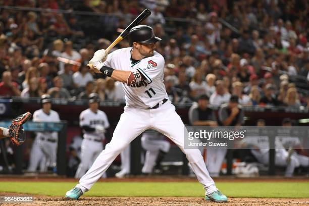 J Pollock of the Arizona Diamondbacks stands at bat in the ninth inning of the MLB game against the Washington Nationals at Chase Field on May 11...