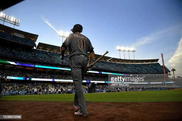 J Pollock of the Arizona Diamondbacks walks to the ondeck circle before playing the Los Angeles Dodgersat Dodger Stadium on August 30 2018 in Los...
