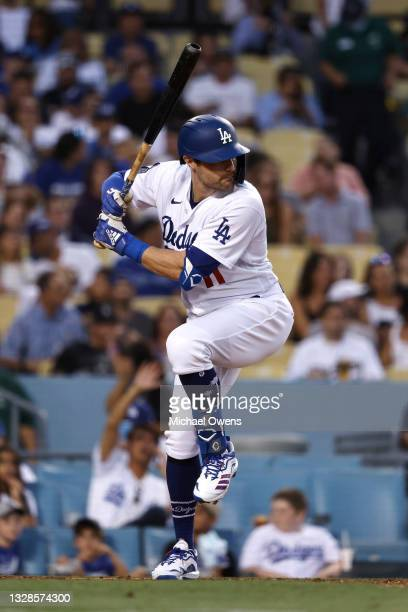 Pollock of the Los Angeles Dodgers at bat against the Arizona Diamondbacks during the third inning at Dodger Stadium on July 09, 2021 in Los Angeles,...