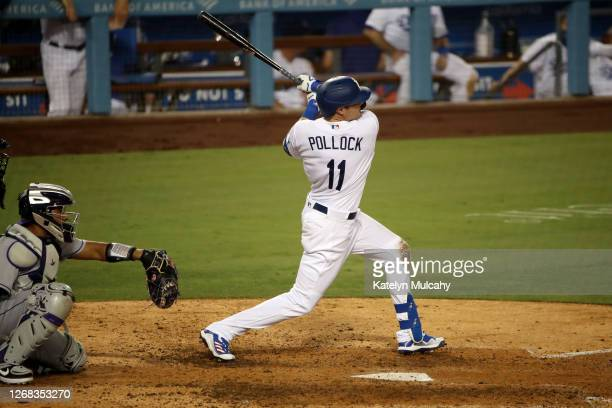 Pollock of the Los Angeles Dodgers at bat during the eighth inning against the Colorado Rockies at Dodger Stadium on August 21, 2020 in Los Angeles,...