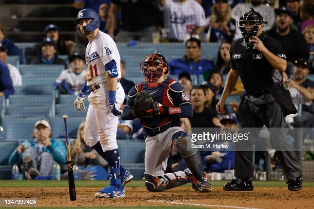 Pollock of the Los Angeles Dodgers hits a three run home run during the eighth inning of Game Five of the National League Championship Series against...