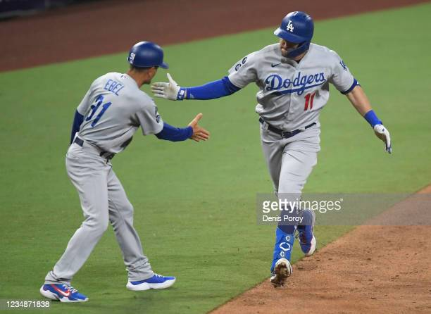 Pollock of the Los Angeles Dodgers is congratulated by Dino Ebel after hitting two-run home during the 16th inning of a baseball game against the San...