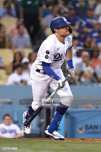 Pollock of the Los Angeles Dodgers looks on as he hits a solo home run against the Arizona Diamondbacks during the third inning at Dodger Stadium on...
