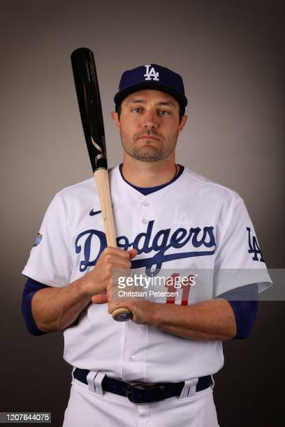 Pollock of the Los Angeles Dodgers poses for a portrait during MLB media day on February 20, 2020 in Glendale, Arizona.