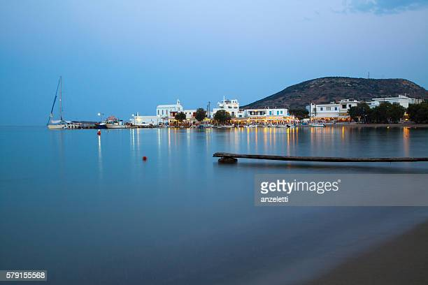 Pollonia village on Milos at dusk