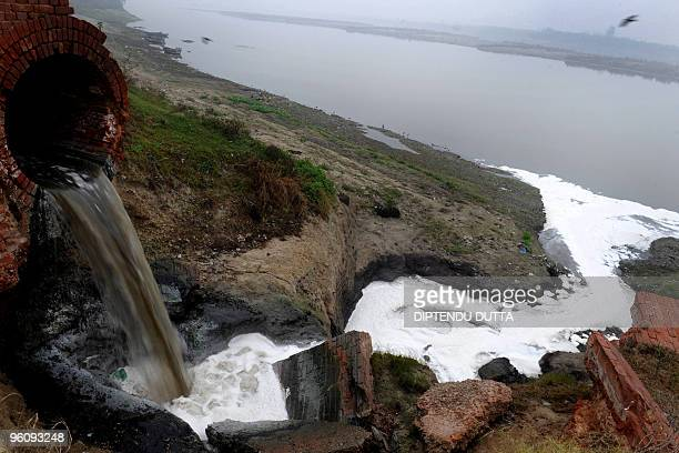 Polluted waste water flows into the Ganges river in Kanpur in the northern state of Uttar Pradesh on January 13 2010 For India's devout Hindus the...