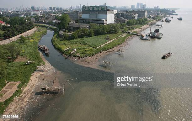 Polluted water flows into the Yangtze River from a stream April 16, 2007 in Nanjing of Jiangsu Province, China. The Yangtze River has become one of...