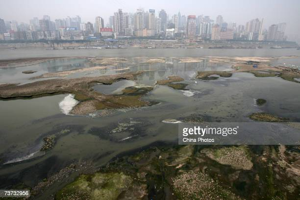 Polluted water on the Yangtze River is shown March 28 2007 in Chongqing Municipality China China is to begin an allout effort to protect its marine...