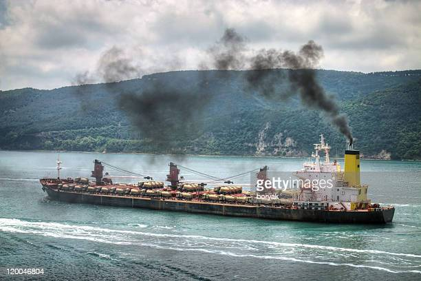 polluting vessel - ship funnel stock photos and pictures