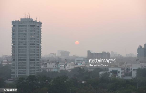 Pollution and smog seen slightly reduced in this top view from ITO on November 4, 2019 in New Delhi, India. Though the air quality index was still in...