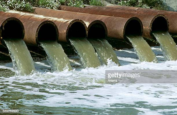 Pollution by industry draining waste water in canal