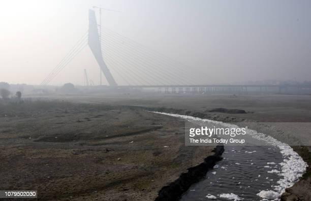 Pollution in river Yamuna shot near Signature Bridge in New Delhi.