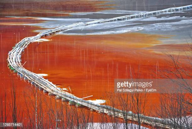 pollution of lake with contaminated water - greenpeace stock pictures, royalty-free photos & images
