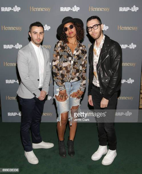 Polly A poses with RapUp Founders Cameron Lazerine and Devin Lazerine at the RapUp 3rd Annual PreBET Awards Dinner Presented by Hennessy at Palihouse...